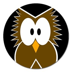 Brown Simple Owl Magnet 5  (round) by Valentinaart