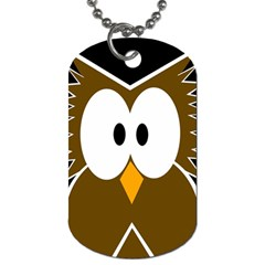 Brown Simple Owl Dog Tag (one Side) by Valentinaart