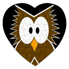 Brown Simple Owl Jigsaw Puzzle (heart) by Valentinaart