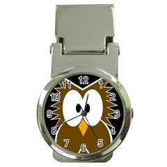 Brown simple owl Money Clip Watches by Valentinaart