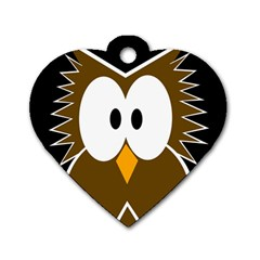 Brown Simple Owl Dog Tag Heart (two Sides) by Valentinaart