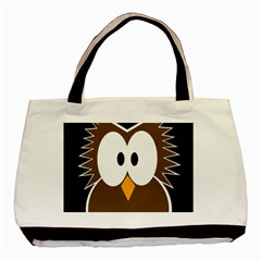 Brown Simple Owl Basic Tote Bag (two Sides) by Valentinaart