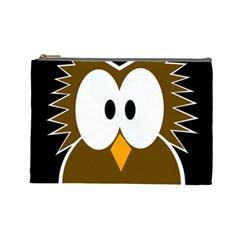 Brown Simple Owl Cosmetic Bag (large)  by Valentinaart