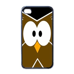 Brown Simple Owl Apple Iphone 4 Case (black) by Valentinaart