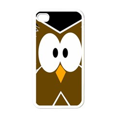 Brown Simple Owl Apple Iphone 4 Case (white) by Valentinaart