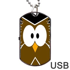 Brown Simple Owl Dog Tag Usb Flash (one Side) by Valentinaart