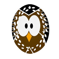 Brown Simple Owl Ornament (oval Filigree)  by Valentinaart