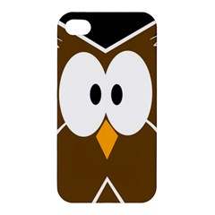 Brown Simple Owl Apple Iphone 4/4s Premium Hardshell Case by Valentinaart