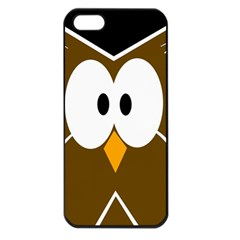 Brown Simple Owl Apple Iphone 5 Seamless Case (black) by Valentinaart