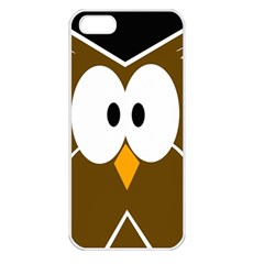 Brown Simple Owl Apple Iphone 5 Seamless Case (white) by Valentinaart