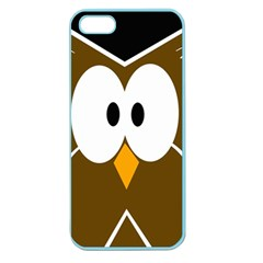 Brown Simple Owl Apple Seamless Iphone 5 Case (color) by Valentinaart