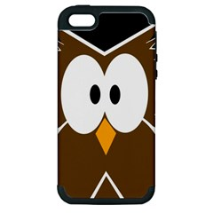 Brown Simple Owl Apple Iphone 5 Hardshell Case (pc+silicone) by Valentinaart