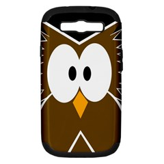 Brown Simple Owl Samsung Galaxy S Iii Hardshell Case (pc+silicone) by Valentinaart