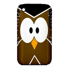 Brown Simple Owl Apple Iphone 3g/3gs Hardshell Case (pc+silicone) by Valentinaart