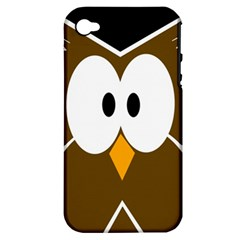 Brown Simple Owl Apple Iphone 4/4s Hardshell Case (pc+silicone) by Valentinaart