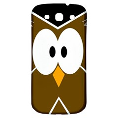 Brown Simple Owl Samsung Galaxy S3 S Iii Classic Hardshell Back Case by Valentinaart