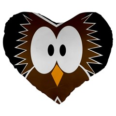 Brown Simple Owl Large 19  Premium Heart Shape Cushions by Valentinaart