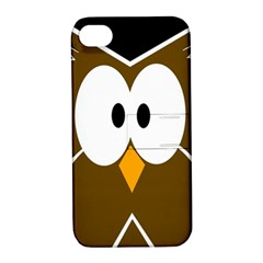 Brown Simple Owl Apple Iphone 4/4s Hardshell Case With Stand by Valentinaart