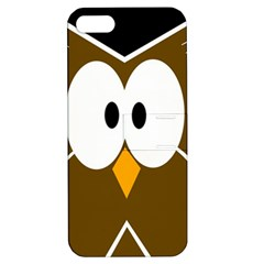 Brown Simple Owl Apple Iphone 5 Hardshell Case With Stand by Valentinaart