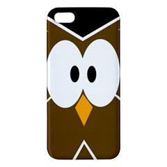 Brown Simple Owl Apple Iphone 5 Premium Hardshell Case by Valentinaart