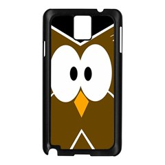 Brown Simple Owl Samsung Galaxy Note 3 N9005 Case (black) by Valentinaart