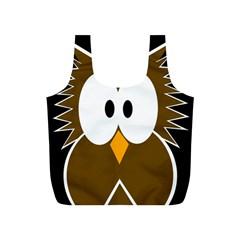 Brown Simple Owl Full Print Recycle Bags (s)  by Valentinaart