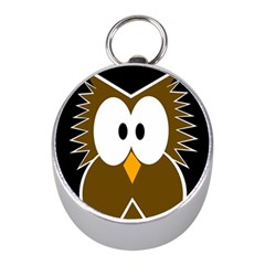 Brown Simple Owl Mini Silver Compasses by Valentinaart