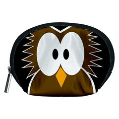 Brown Simple Owl Accessory Pouches (medium)  by Valentinaart