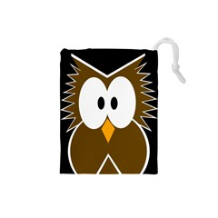 Brown Simple Owl Drawstring Pouches (small)  by Valentinaart