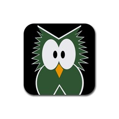 Green Owl Rubber Square Coaster (4 Pack)  by Valentinaart