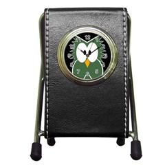 Green Owl Pen Holder Desk Clocks by Valentinaart