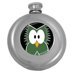 Green Owl Round Hip Flask (5 Oz) by Valentinaart