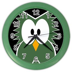 Green Owl Color Wall Clocks by Valentinaart
