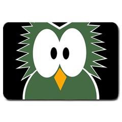 Green Owl Large Doormat  by Valentinaart