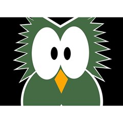 Green Owl Birthday Cake 3d Greeting Card (7x5)