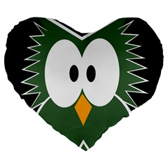Green Owl Large 19  Premium Flano Heart Shape Cushions by Valentinaart