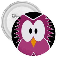 Pink Owl 3  Buttons by Valentinaart
