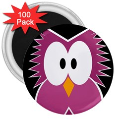 Pink Owl 3  Magnets (100 Pack) by Valentinaart
