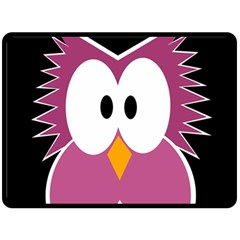 Pink Owl Fleece Blanket (large)  by Valentinaart