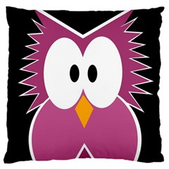 Pink Owl Large Cushion Case (two Sides) by Valentinaart