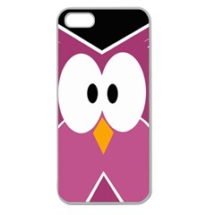 Pink Owl Apple Seamless Iphone 5 Case (clear) by Valentinaart