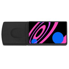 Pink And Blue Twist Usb Flash Drive Rectangular (4 Gb)  by Valentinaart