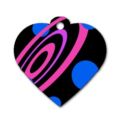 Pink And Blue Twist Dog Tag Heart (one Side) by Valentinaart
