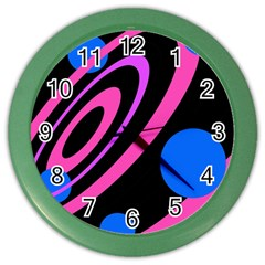 Pink And Blue Twist Color Wall Clocks