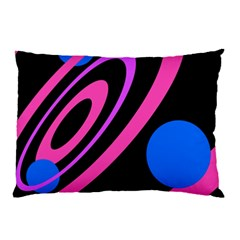 Pink And Blue Twist Pillow Case by Valentinaart
