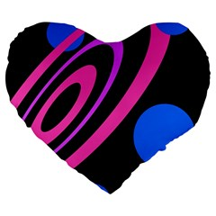 Pink And Blue Twist Large 19  Premium Heart Shape Cushions by Valentinaart