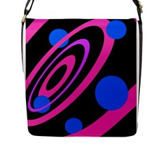 Pink And Blue Twist Flap Messenger Bag (l)  by Valentinaart
