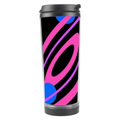 Pink And Blue Twist Travel Tumbler by Valentinaart
