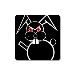 Evil Rabbit Square Magnet by Valentinaart