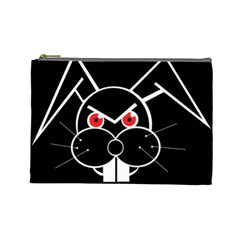 Evil Rabbit Cosmetic Bag (large)  by Valentinaart